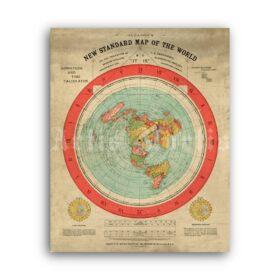 Printable Flat Earth Gleason's vintage map, alternative science poster - vintage print poster
