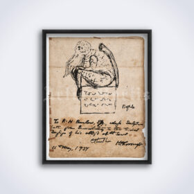Printable Cthulhu monster drawing - sketch by H.P. Lovecraft poster - vintage print poster