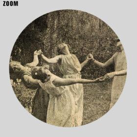 Printable Ritual circle dance photo, Summer Solstice, dancing moon girls - vintage print poster