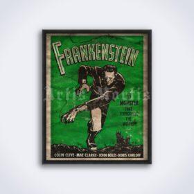 Printable Frankenstein with Boris Karloff - vintage horror movie poster - vintage print poster