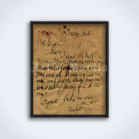 Printable Jack the Ripper serial killer - From Hell letter poster - vintage print poster