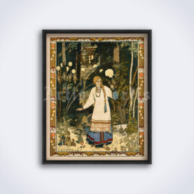 Printable Vasilisa the Beautiful - Russian folk tales art by Ivan Bilibin - vintage print poster