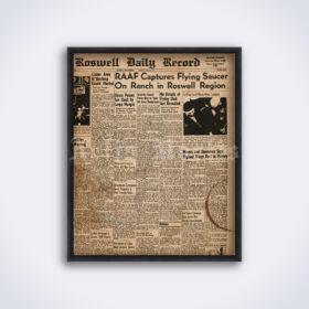 Printable Roswell UFO Incident 1947 newspaper poster - vintage print poster