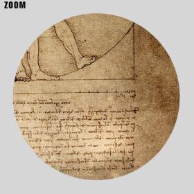 Printable Vitruvian Man drawing manuscript by Leonardo Da Vinci - vintage print poster