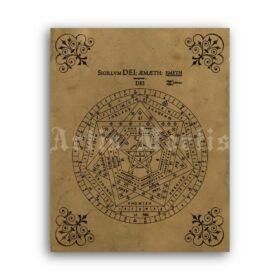 Printable Sigillum Dei Aemeth, Sigil of Ameth occult symbol Seal of God - vintage print poster
