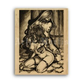 Printable Submissive girls in bondage - art by J. Ashely - vintage print poster