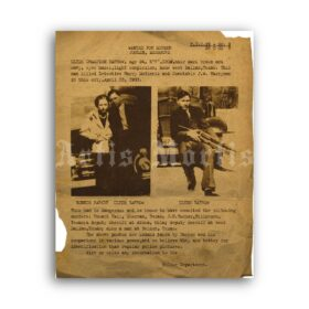Printable Bonnie and Clyde Wanted poster 1930s crime, outlaw, bank robber - vintage print poster
