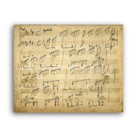 Printable Ludwig van Beethoven Moonlight Sonata original handwritten score - vintage print poster