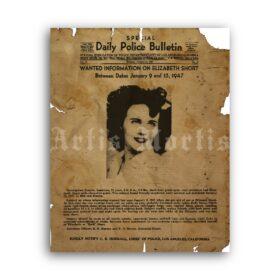 Printable Black Dahlia - Elizabeth Short Wanted poster - vintage print poster