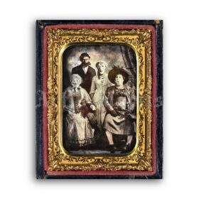 Printable Victorian Halloween weird family daguerreotype photo - vintage print poster