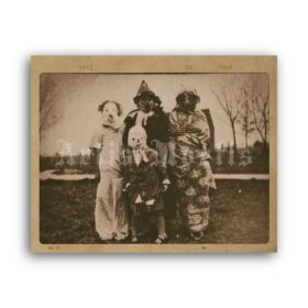Printable Creepy Family in weird costumes - antique Halloween photo - vintage print poster