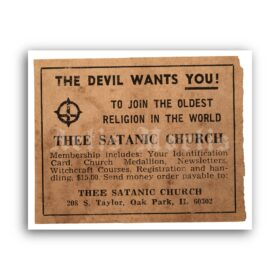 Printable The Devil Wants You - Thee Satanic Church ad poster - vintage print poster