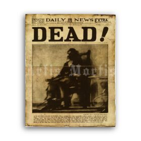 Printable DEAD! First Electric Chair Execution historical newspaper - vintage print poster
