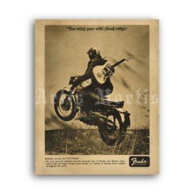 Printable Fender vintage 1960s guitar advertising poster - vintage print poster