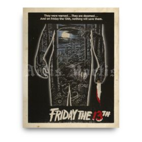 Printable Friday the 13th vintage 1980 horror movie poster - vintage print poster