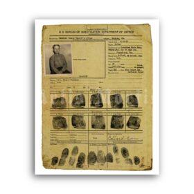 Printable Ed Gein fingerprints police card with photo, crime record - vintage print poster