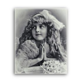 Printable Little girl praying photo, Grete Reinwald, Edwardian child portrait - vintage print poster