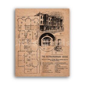 Printable H. H. Holmes - first serial killer Murder Castle 1895 plan poster - vintage print poster