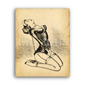 Printable Girl in ropes, bondage, shibari art by Joe Shuster - vintage print poster
