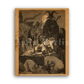 Printable Black Mass 1862 illustration by Martin Van Maele - vintage print poster