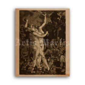 Printable Dancing Witches Sabbath 1862 illustration by Martin Van Maele - vintage print poster