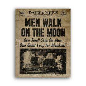 Printable Men Walk on the Moon 1969 newspaper Apollo 11 poster - vintage print poster