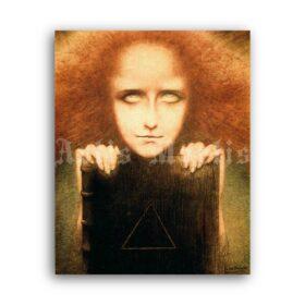 Printable Mysteriosa - Portrait of Madame Stuart Merrill art by Jean Delville - vintage print poster