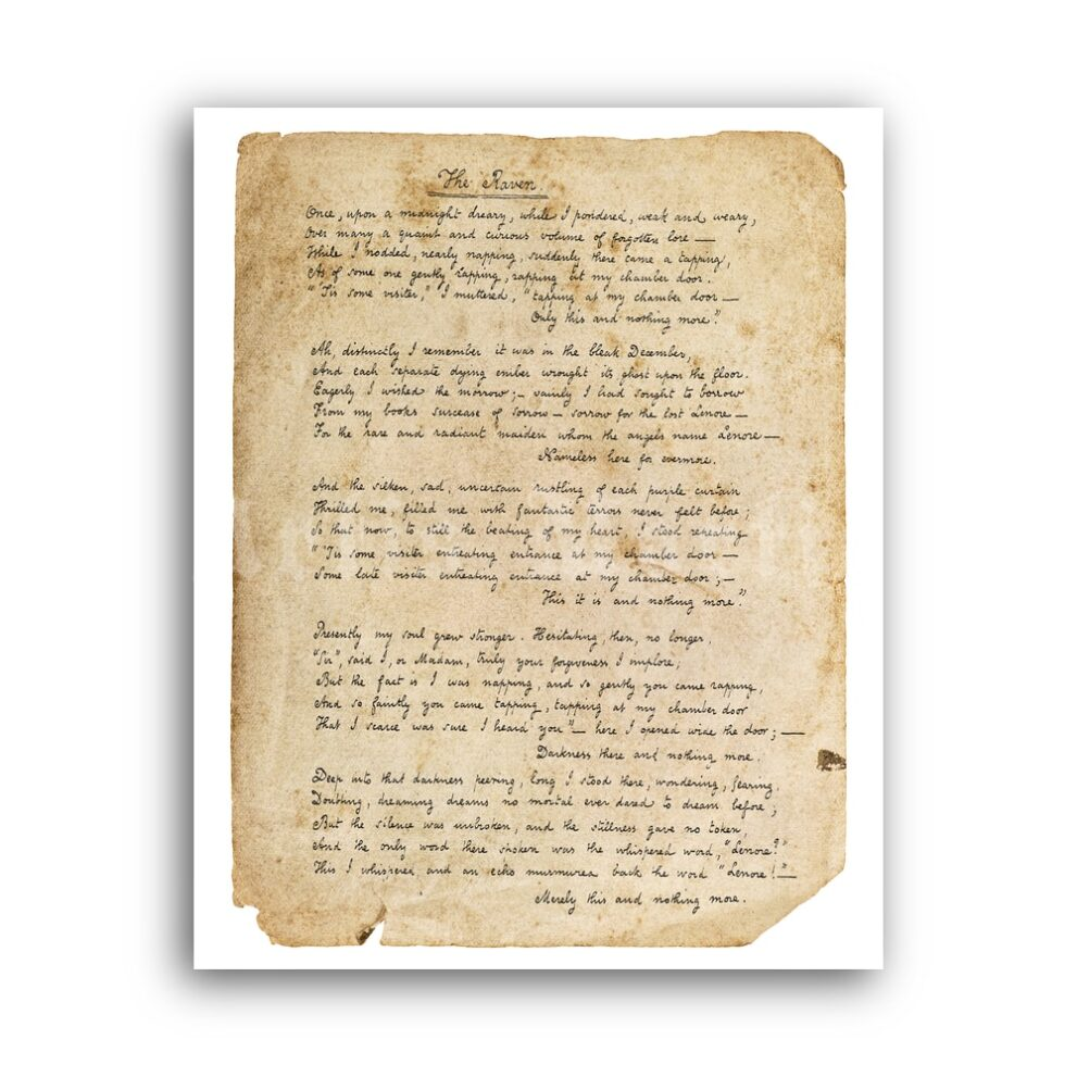 Printable The Raven Edgar Allan Poe poem handwriting manuscript page - vintage print poster