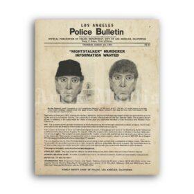 Printable Nightstalker Richard Ramirez Police Bulletin Wanted poster - vintage print poster