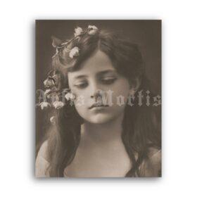 Printable Victorian sad dreamy teen girl photo portrait - vintage print poster