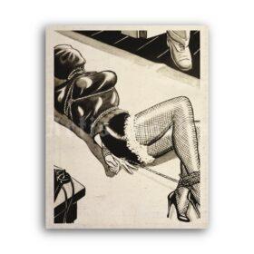 Printable Bondage girl fetish cartoon art by Eric Stanton - vintage print poster