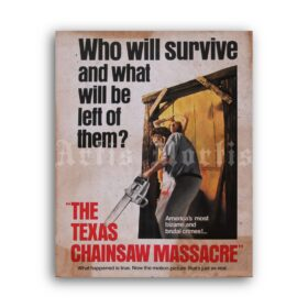 Printable The Texas Chainsaw Massacre 1974 horror movie poster - vintage print poster