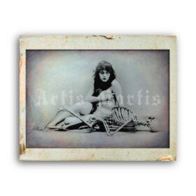 Printable The Vamp girl with Skeleton photo - actress Theda Bara - vintage print poster