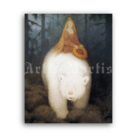Printable Princess on the White Bear illustration - art by Theodor Kittelsen - vintage print poster