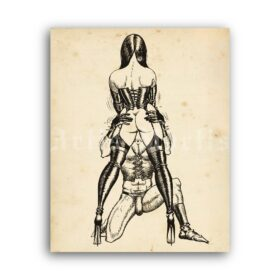 Printable Femdom, female domination art by Bill Ward - vintage print poster