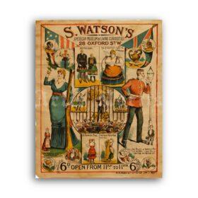 Printable Watson's Living Curiosities Museum freak show poster - vintage print poster