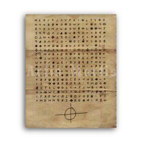 Printable Zodiac Killer Cipher letter cryptogram serial killer poster - vintage print poster
