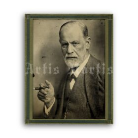 Printable Sigmund Freud with cigar antique photo portrait - vintage print poster