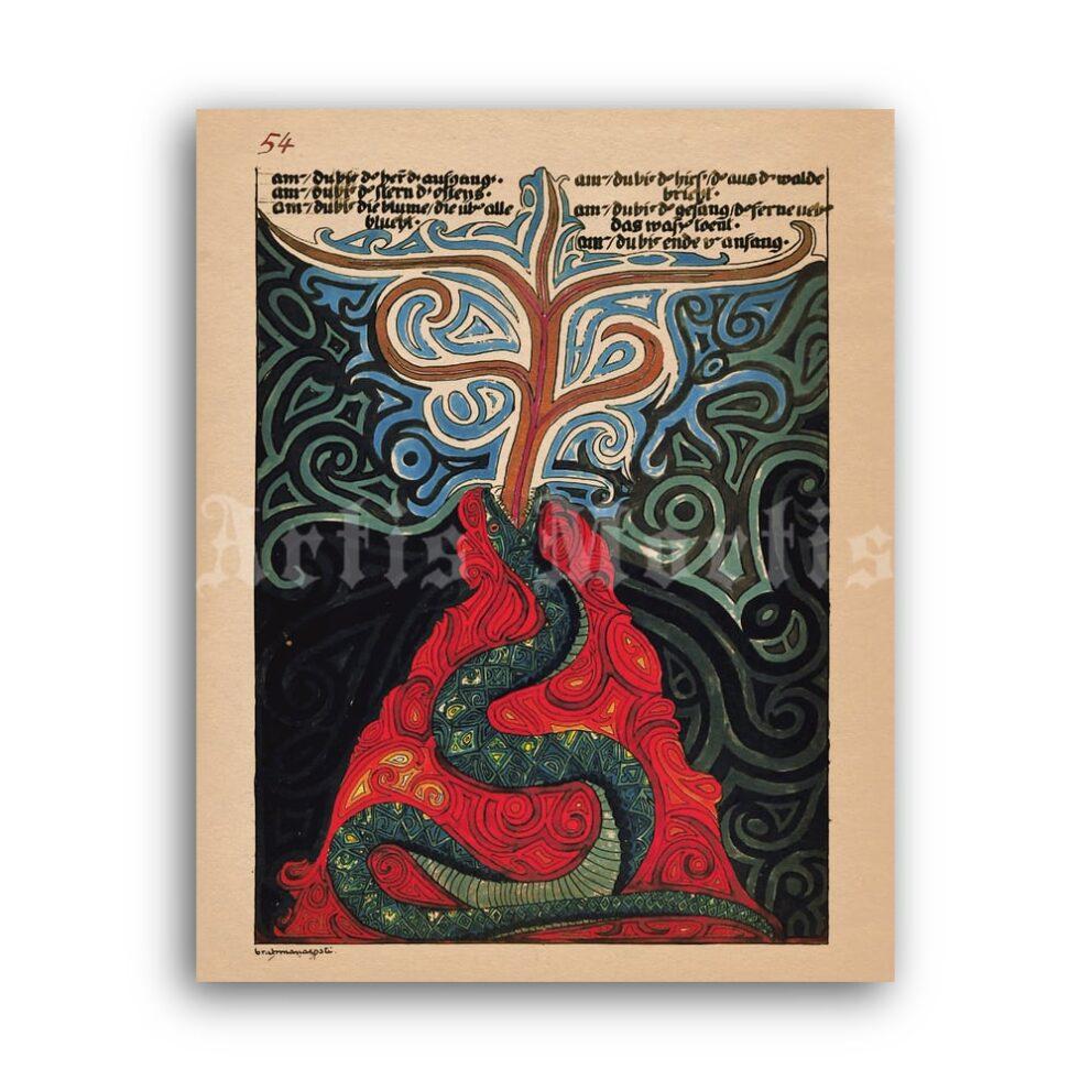Printable Carl Jung - Red Book manuscript illustration p54 poster - vintage print poster