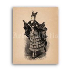 Printable Victorian Bat Lady costume, Bat-girl - vintage Halloween fashion - vintage print poster