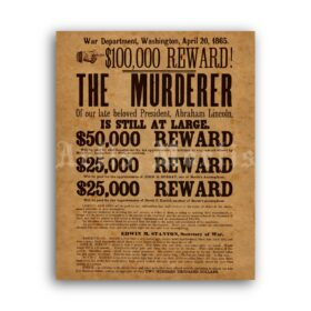 Printable Murderer of Abraham Lincoln - John Wilkes Booth wanted poster - vintage print poster