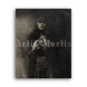 Printable Fortune Teller, gypsy girl - vintage mystic photo poster - vintage print poster
