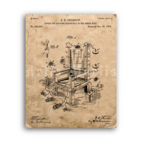 Printable Electric Chair patent - execution, death chamber vintage print - vintage print poster