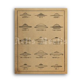 Printable German WW2 military flying saucers classification chart poster - vintage print poster