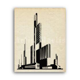 Printable Iakov Chernikhov architectural composition, soviet constructivism - vintage print poster