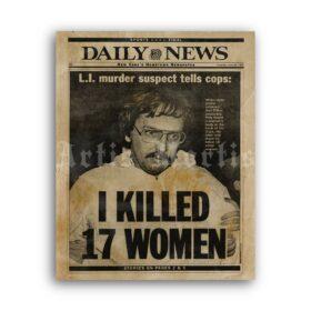 Printable Joel Rifkin - I killed 17 women - serial killer newspaper poster - vintage print poster