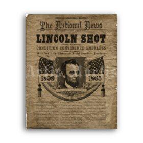 Printable Abraham Lincoln shot newspaper cover, obituary, historical poster - vintage print poster