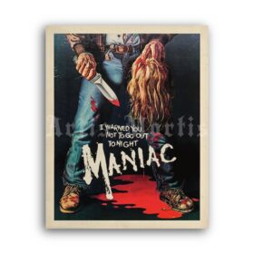 Printable Maniac - vintage 1980 slasher, horror movie poster - vintage print poster