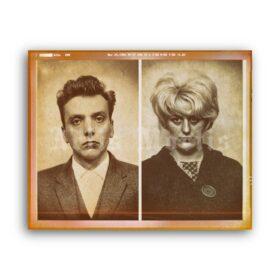 Printable Moors Murders - Ian Brady and Myra Hindley mugshot poster - vintage print poster