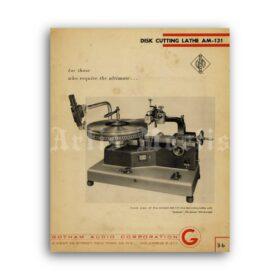 Printable Neumann Disk Cutting Lathe, vinyl recorder, turntable poster - vintage print poster